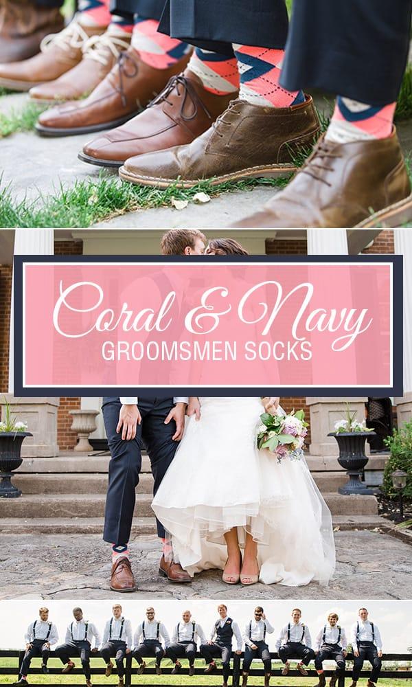 Coral Navy Groomsmen Socks