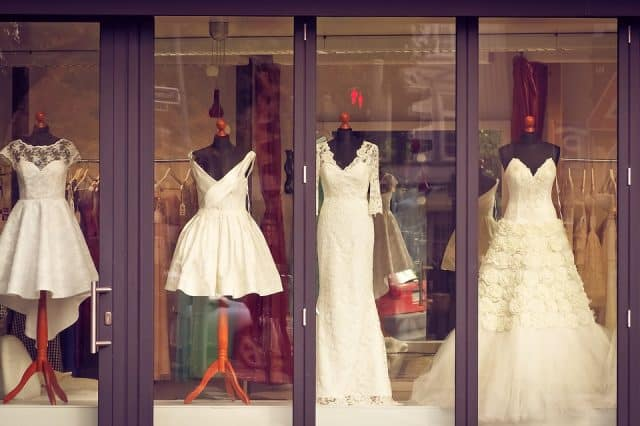Selecting the perfect wedding dress.