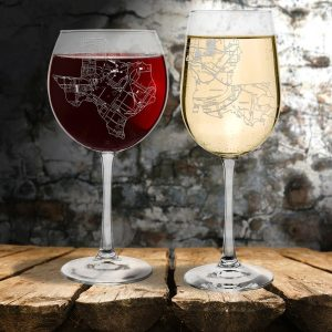 City Etched Wine glass